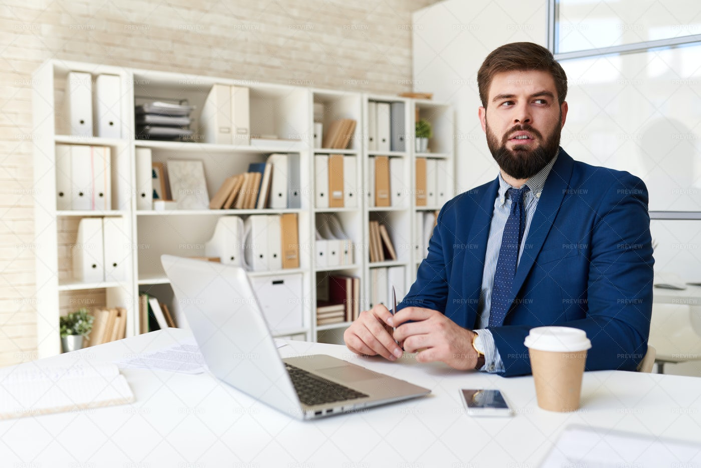 Thinking Business Expert In Office: Stock Photos