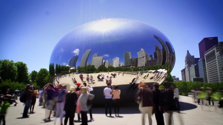Chicago Bean Sculpture: Stock Video
