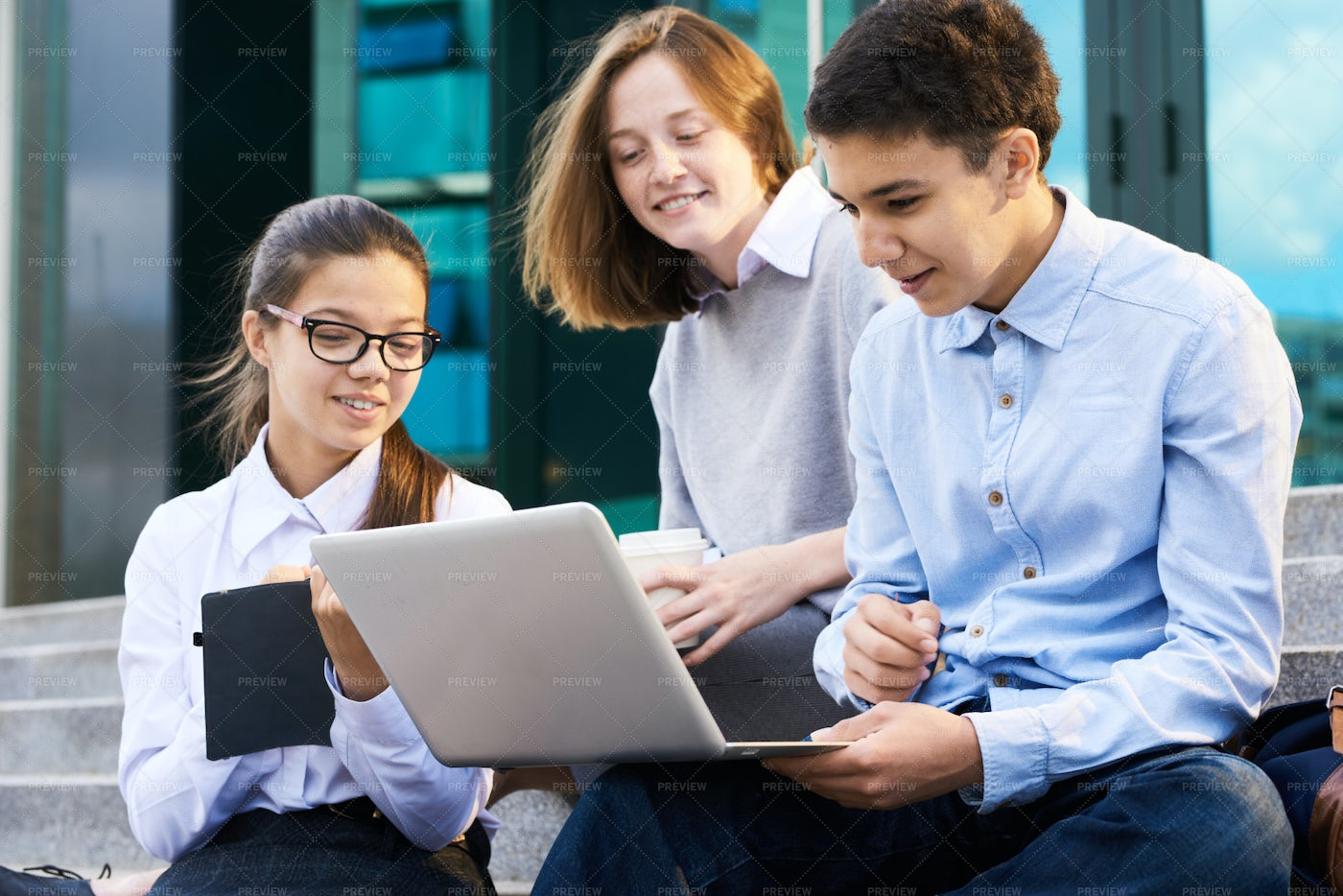 Group Of Children Using Laptop By...: Stock Photos