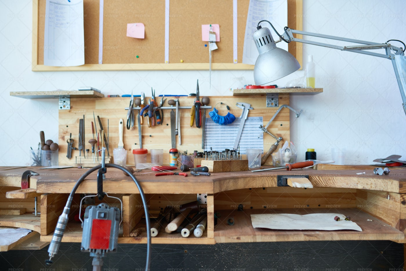 Work Table With Tools: Stock Photos