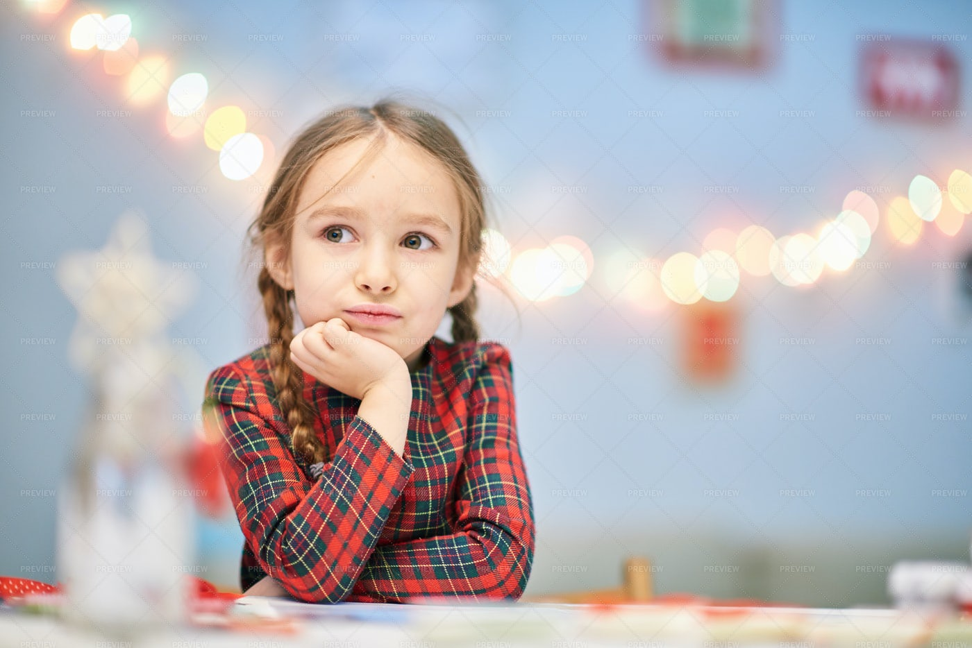 Portrait Of Thoughtful Little Girl: Stock Photos