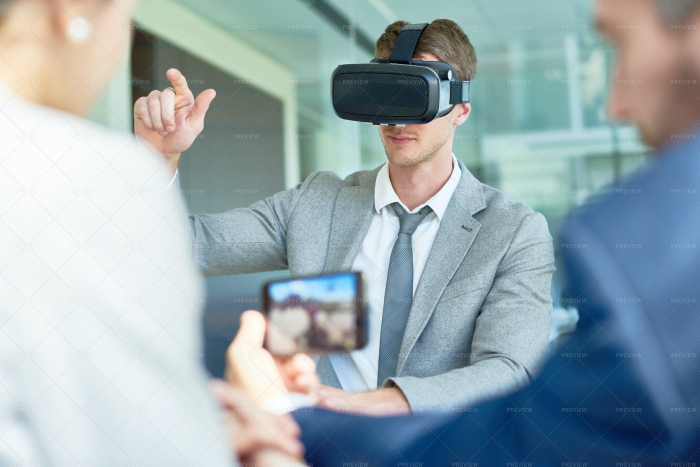 Using VR Headset At Boardroom: Stock Photos