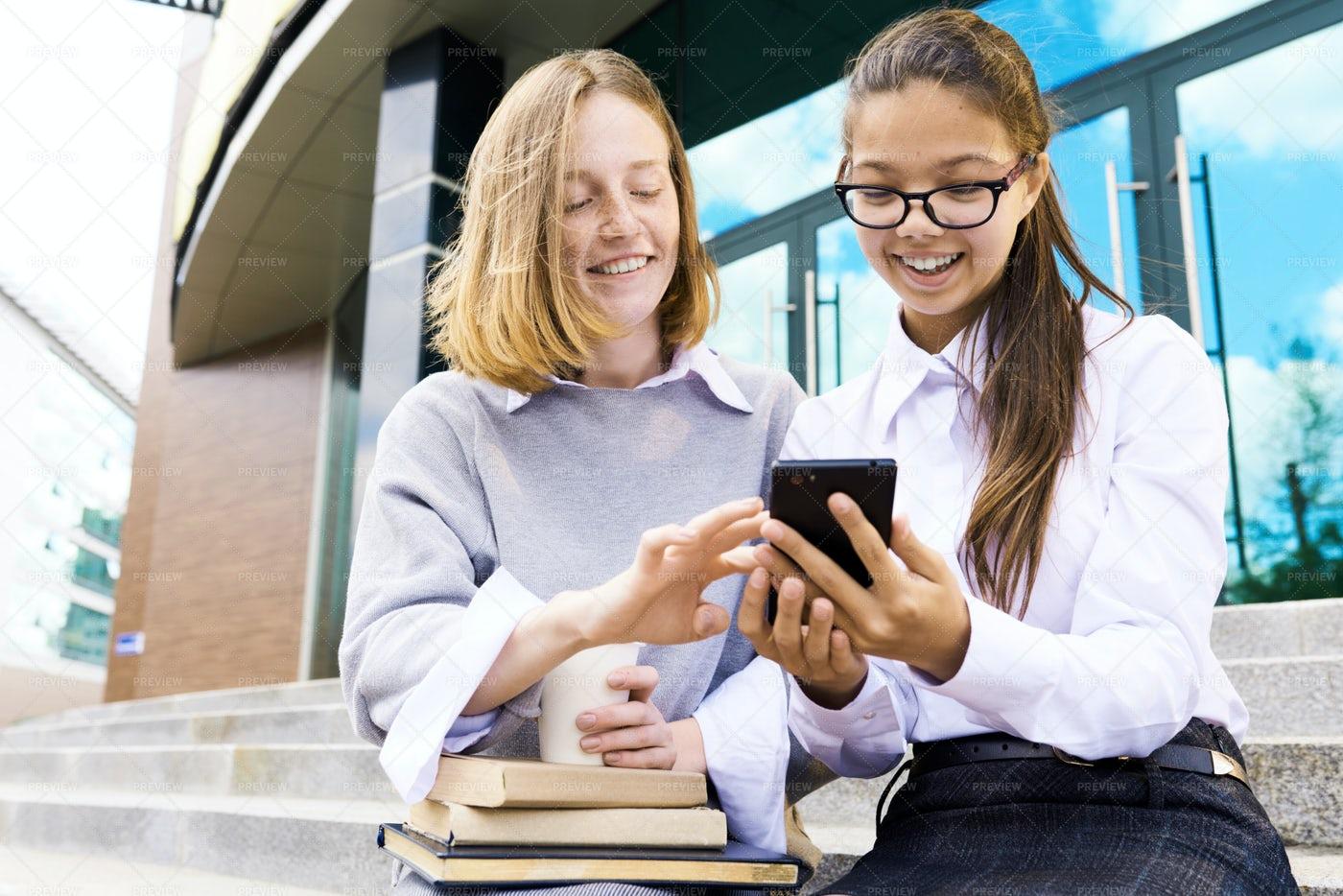 Cheerful Teenagers Outside School...: Stock Photos