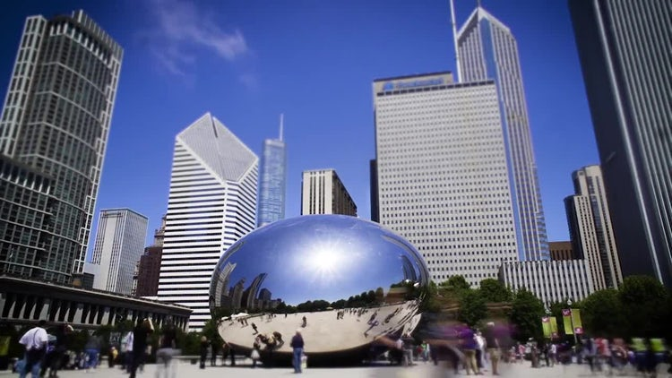 Chicago Bean Time Lapse Wide With People: Stock Video