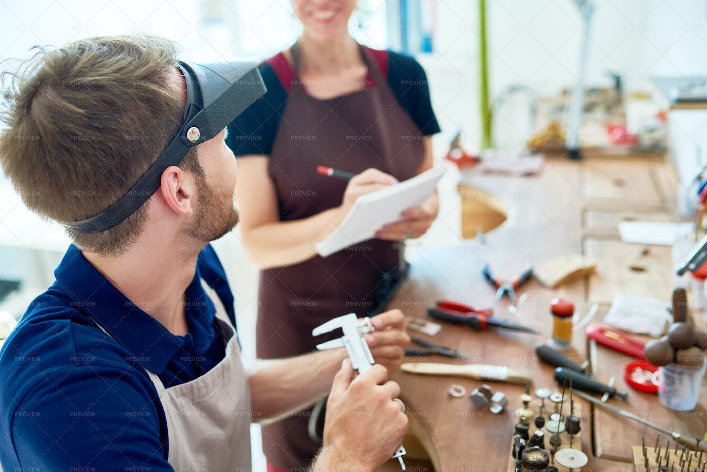 People In Jewelry Workshop: Stock Photos