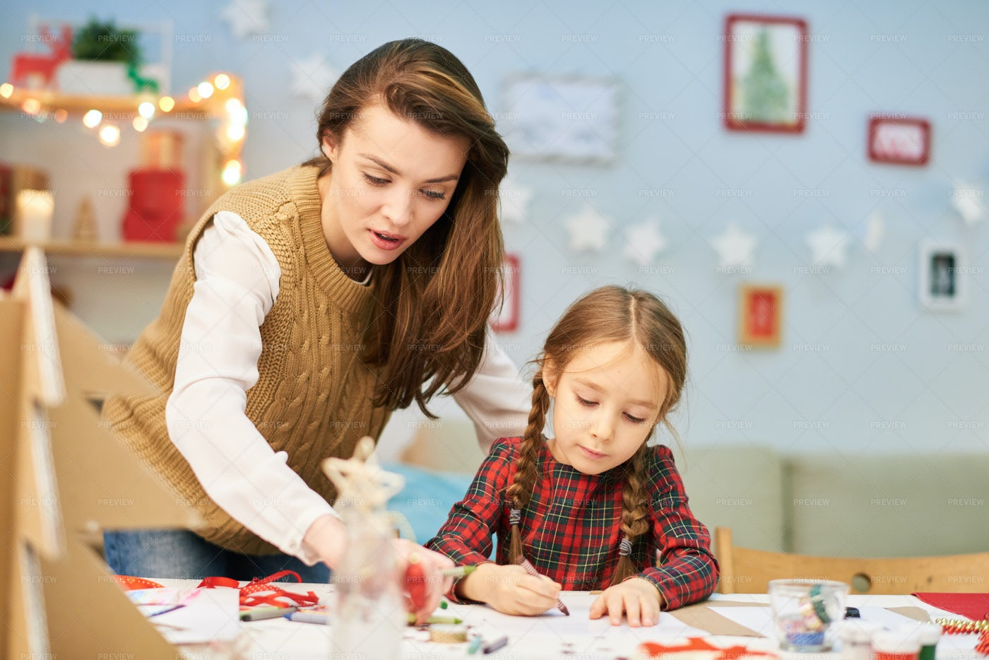 Making Christmas Card With Mom: Stock Photos