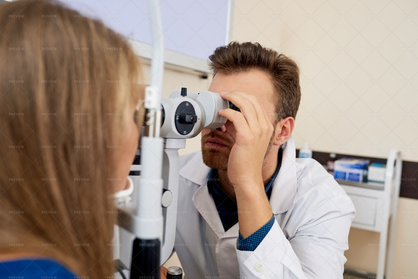 Young Woman Getting Eye Test At...: Stock Photos