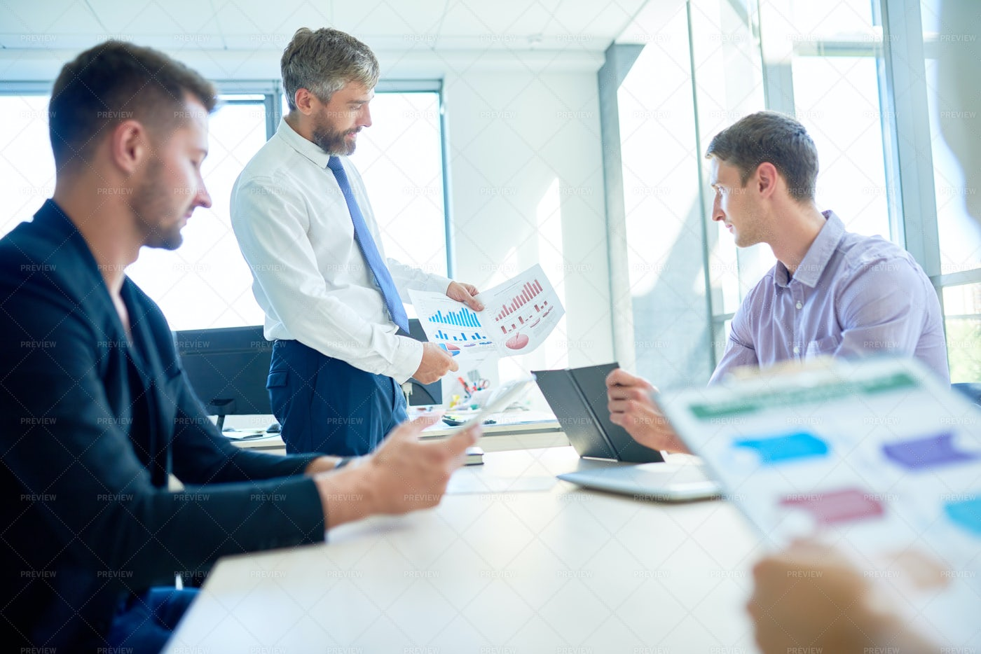 Managers Wrapped Up In Discussion: Stock Photos