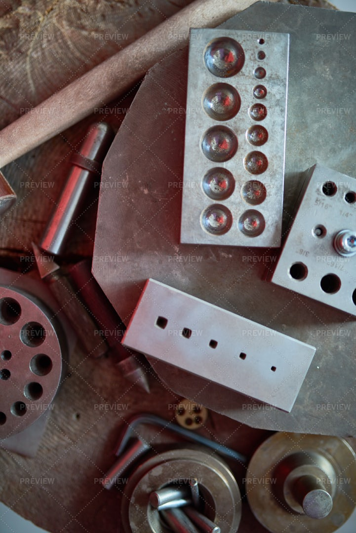Metalworking Forms At Jewelry...: Stock Photos