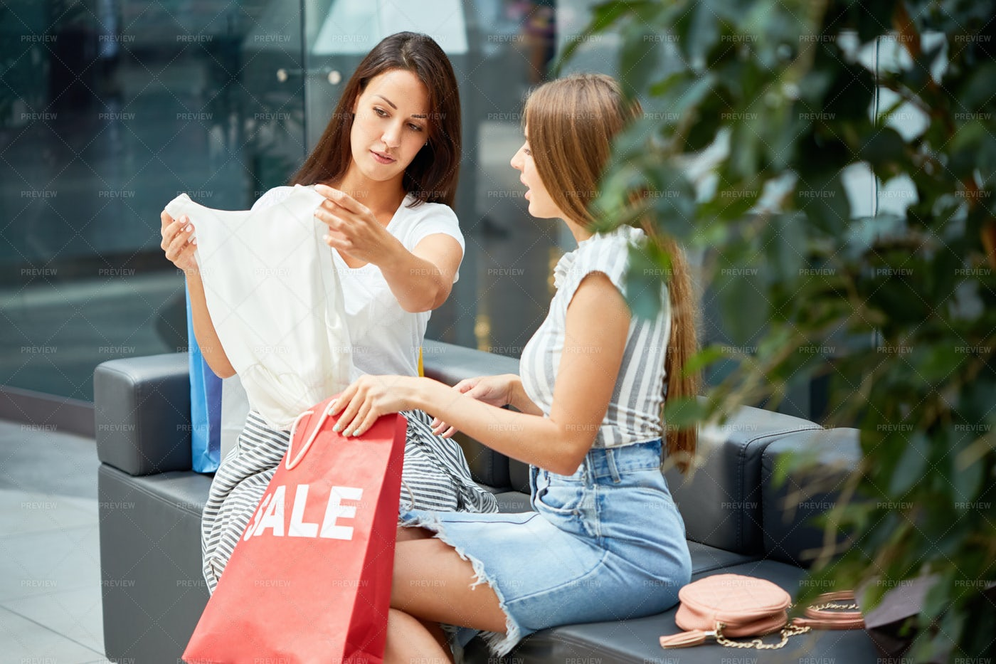 Two Young Women Shopping On Sale: Stock Photos