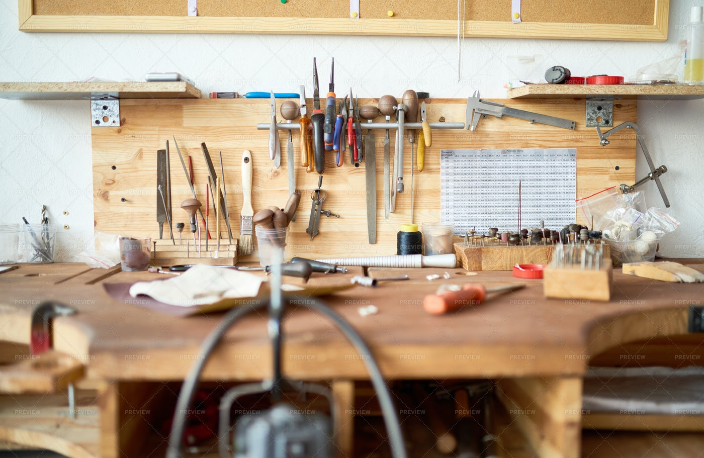 Workshop Table With Tools: Stock Photos