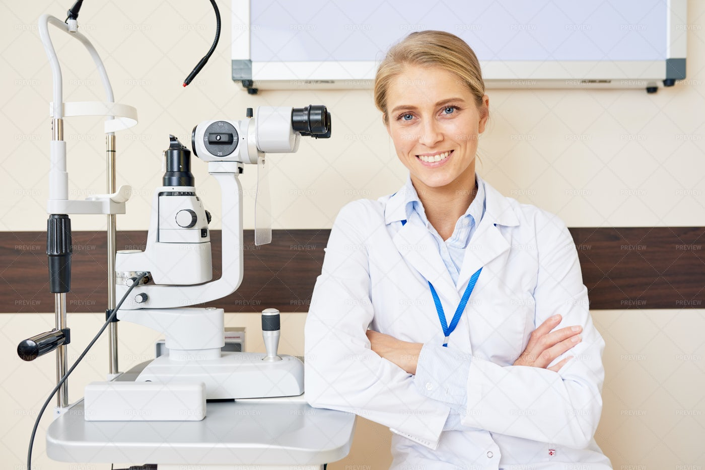 Cheerful Female Ophthalmologist: Stock Photos