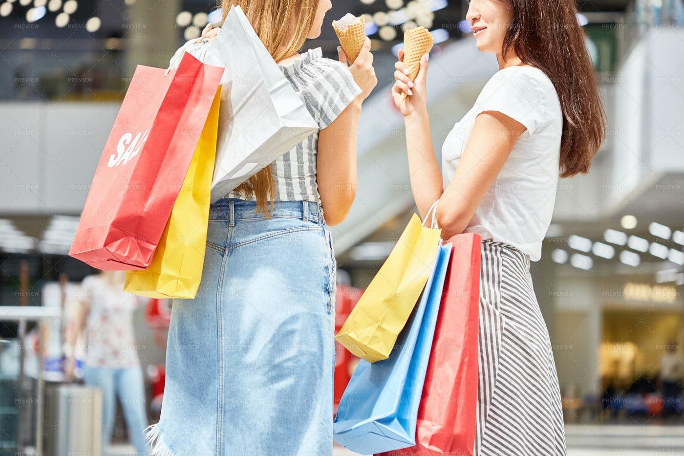 Young Women In Shopping Center: Stock Photos