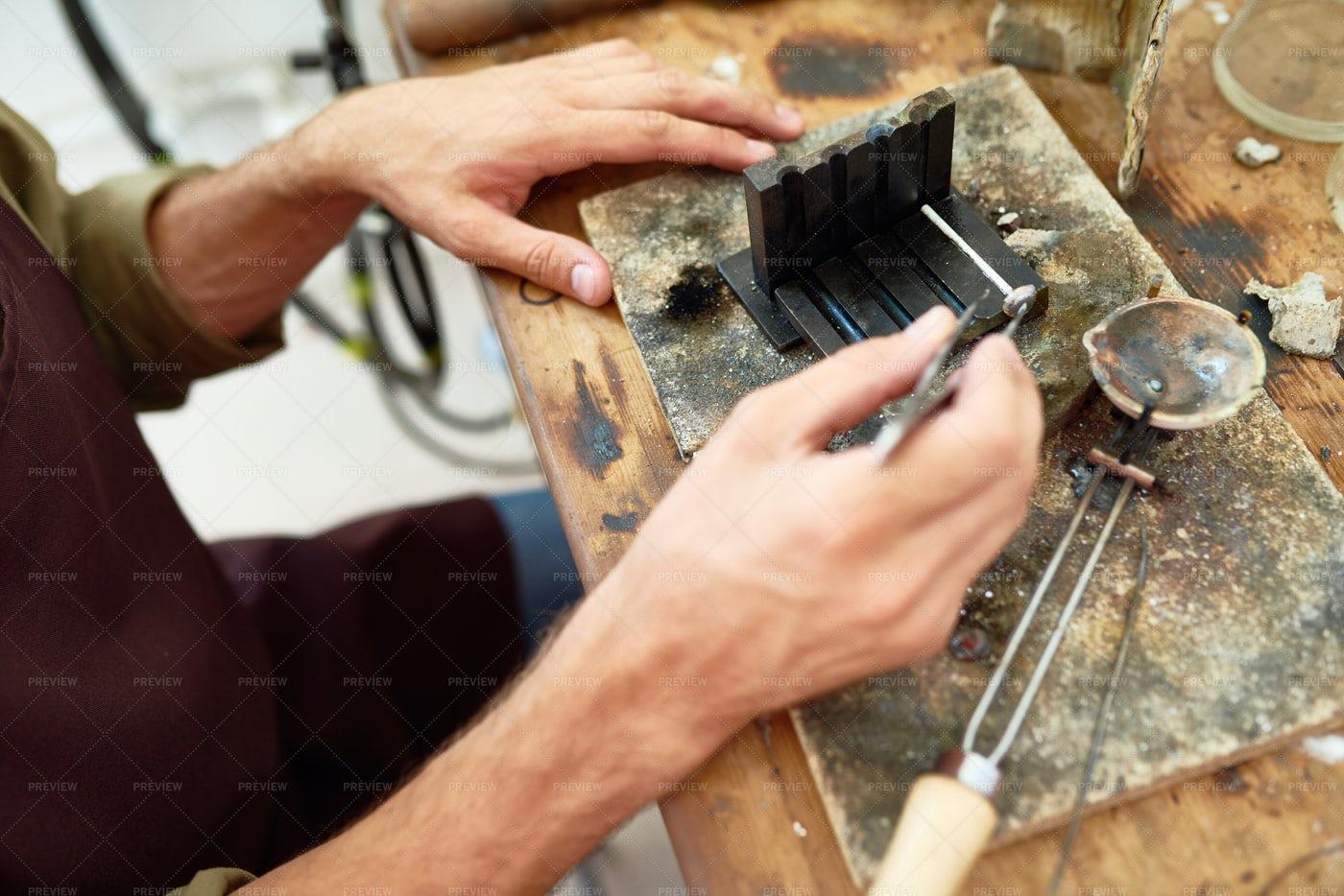 Artisan Working With Metal: Stock Photos