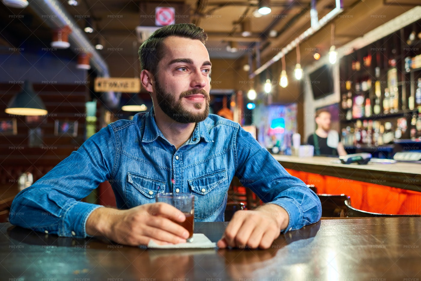 Happy Drunk Man In Bar: Stock Photos