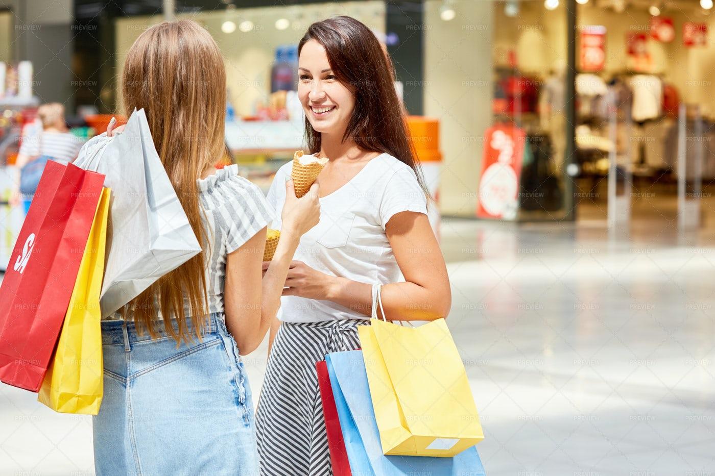 Beautiful Women In Shopping Center: Stock Photos