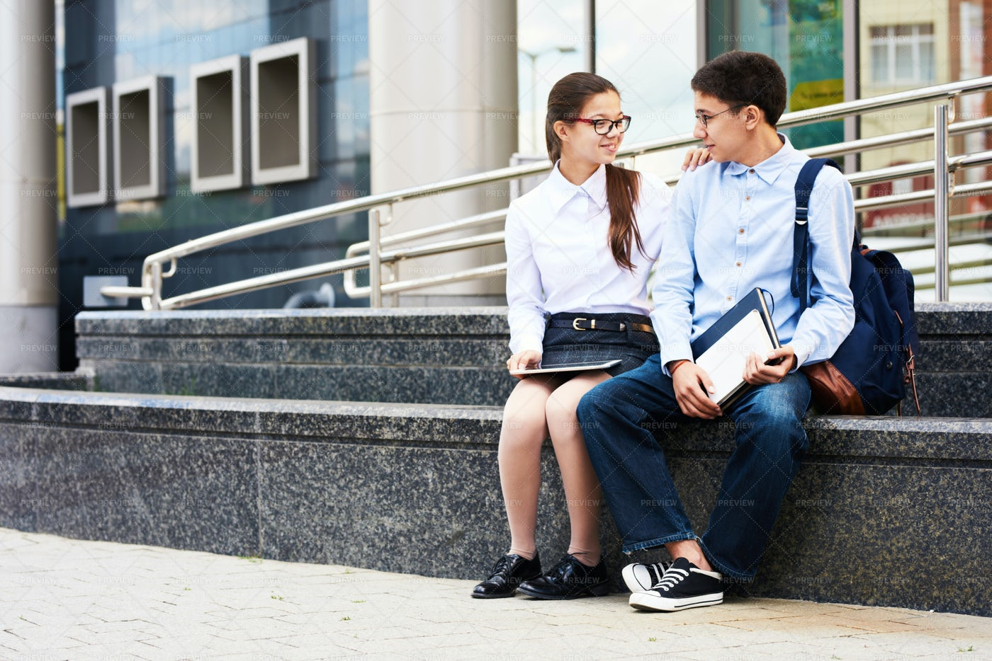 Teenage Couple In School Yard: Stock Photos