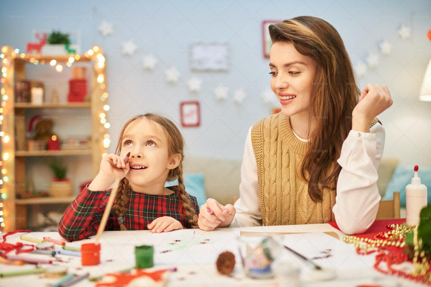 Joint Work On Creation Of Christmas...: Stock Photos