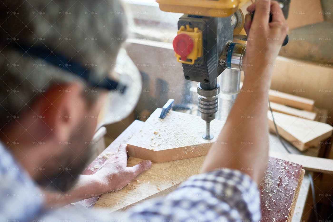 Carpenter Making Furniture: Stock Photos