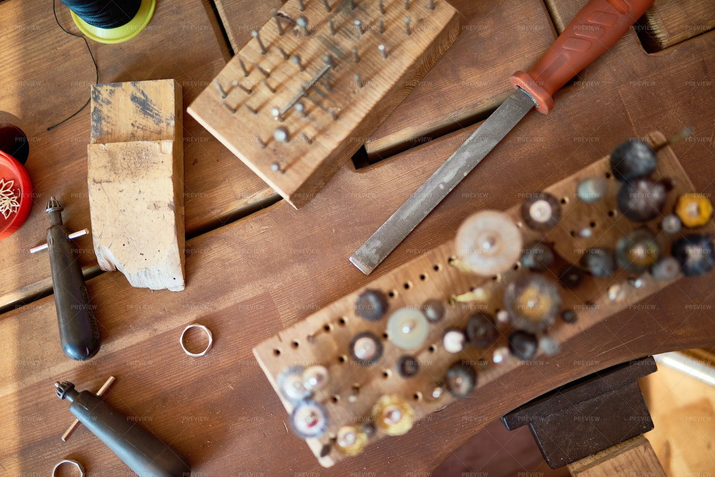 Jewelers Tools On Table: Stock Photos