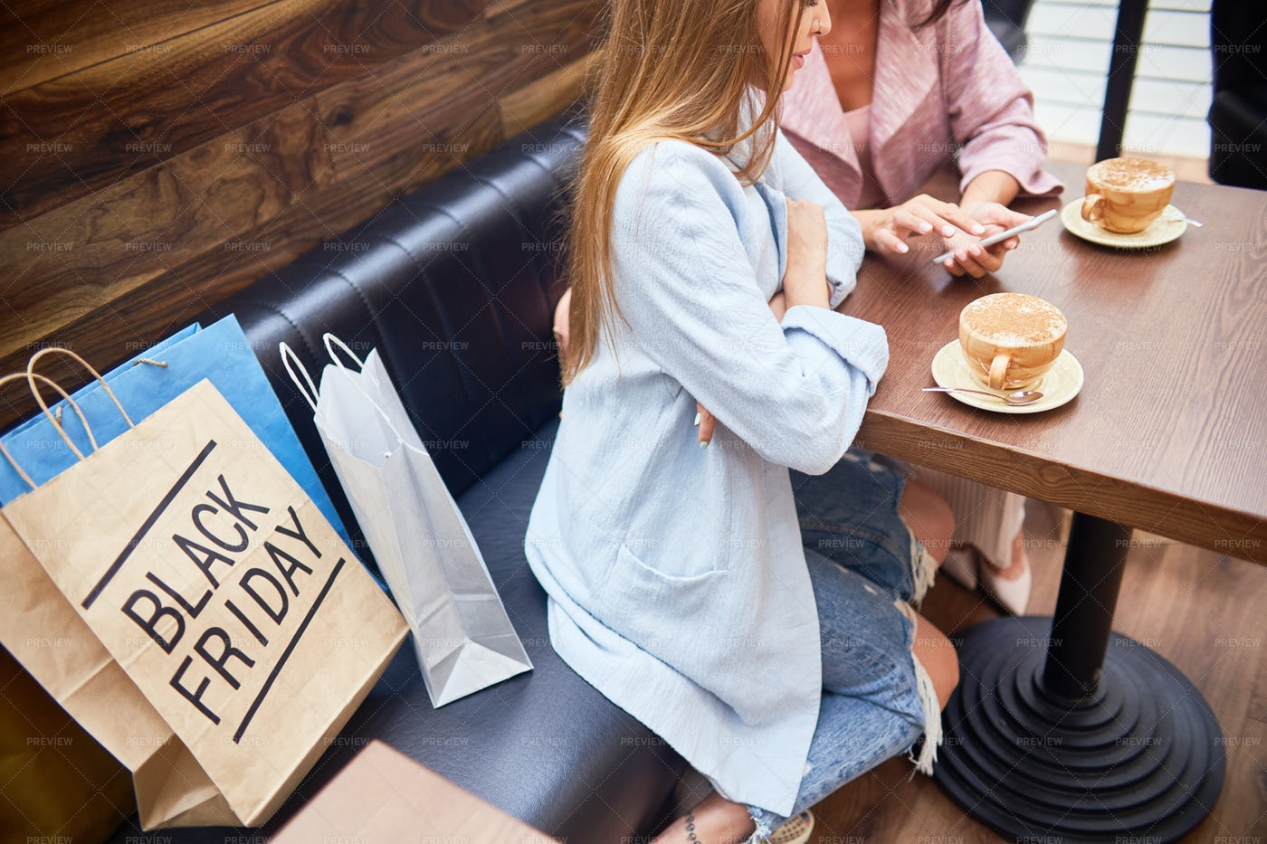 Women In Cafe Of Shopping Mall: Stock Photos