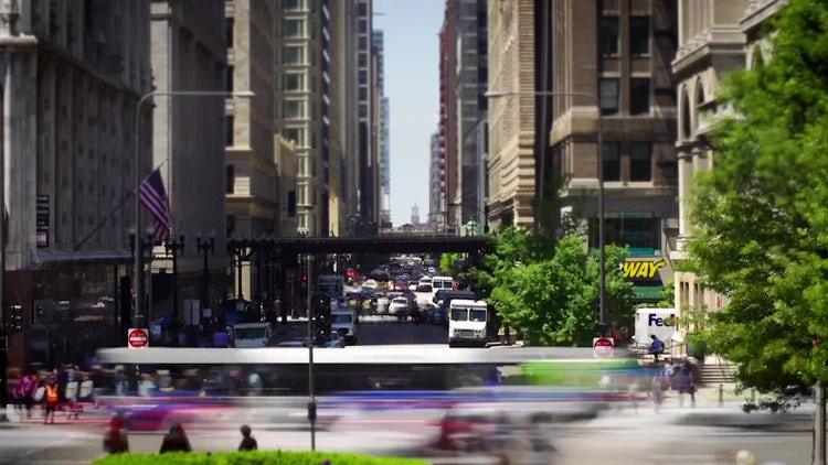 Chicago Street Timelapse Traffic: Stock Video