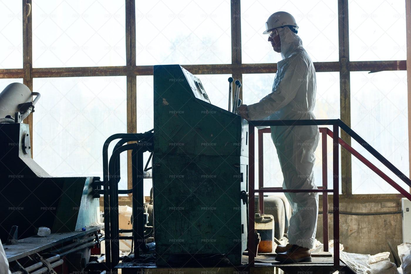 Biohazard Work At Factory: Stock Photos
