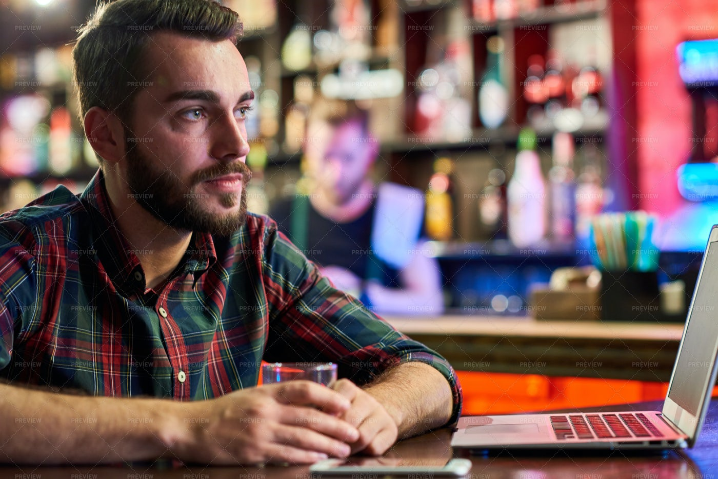 Young Man With Laptop In Bar: Stock Photos