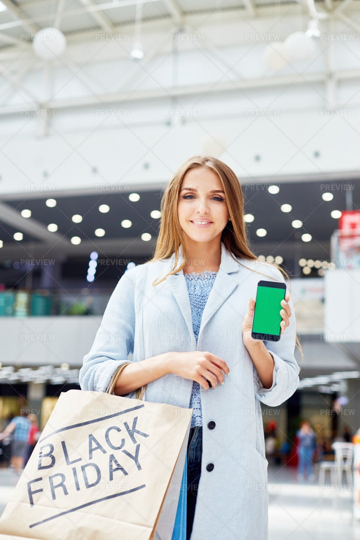 Young Woman Showing Shopping App: Stock Photos