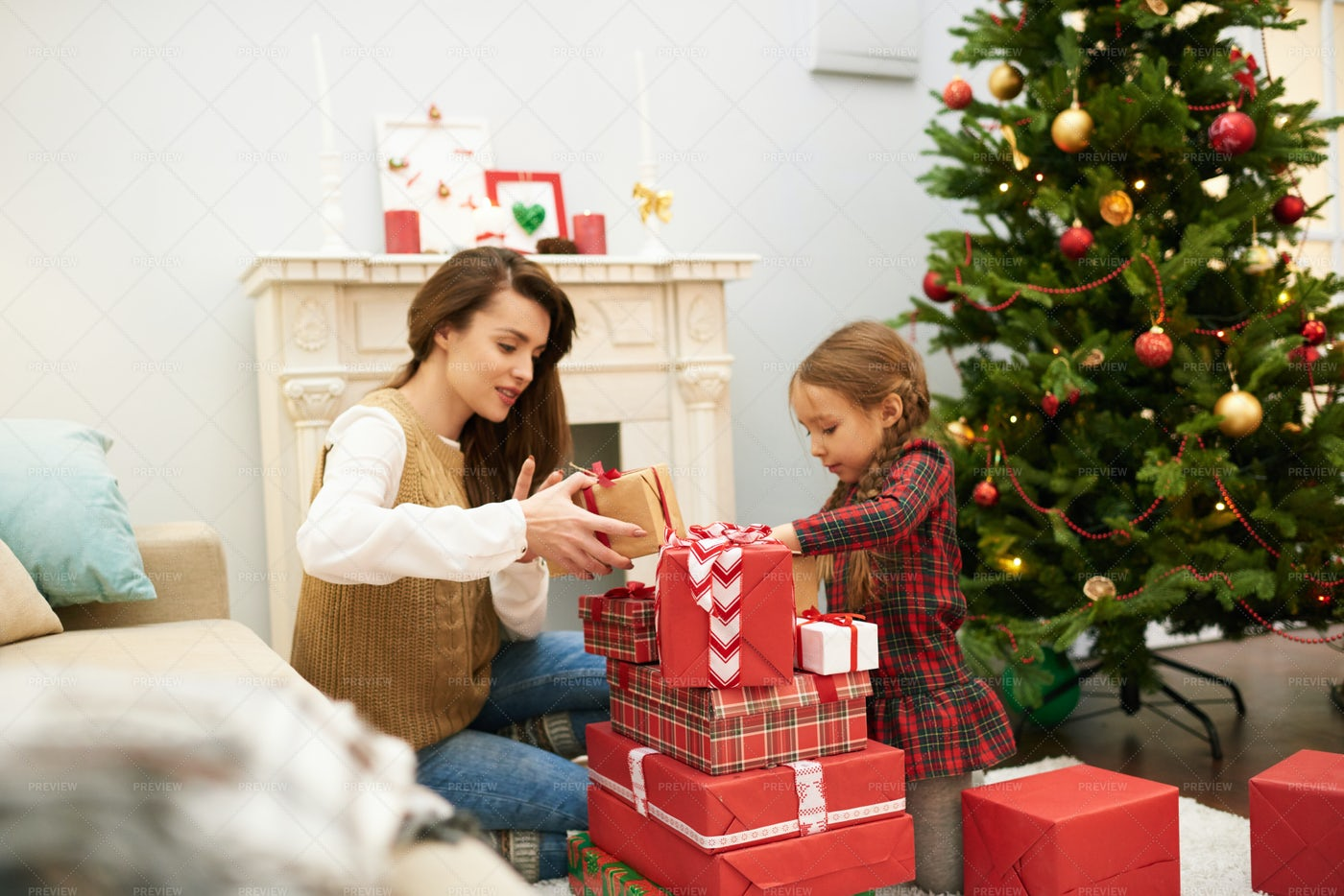 Celebrating Boxing Day At Home: Stock Photos