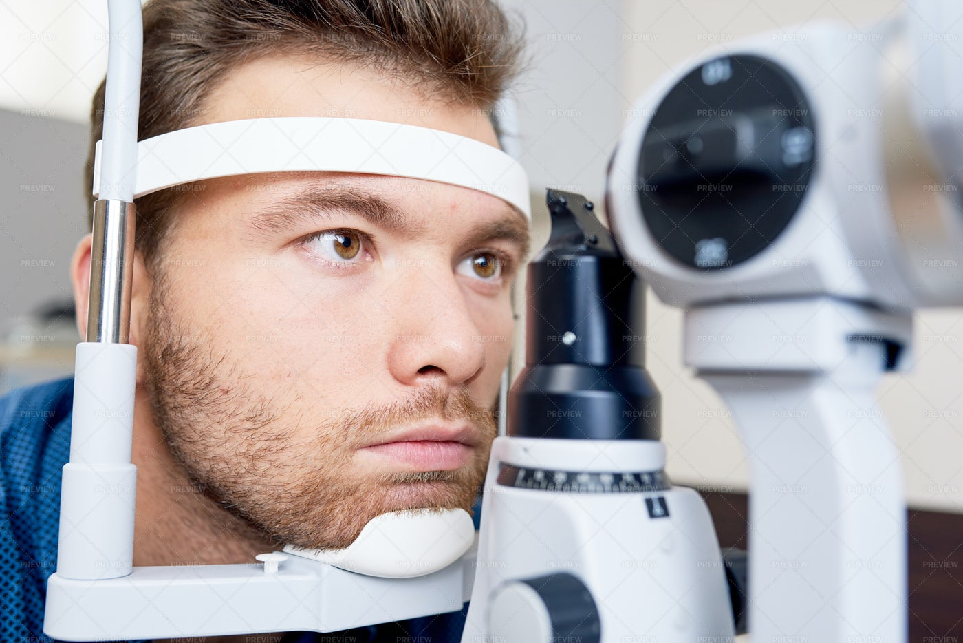 Patient At Ophthalmologists Close...: Stock Photos