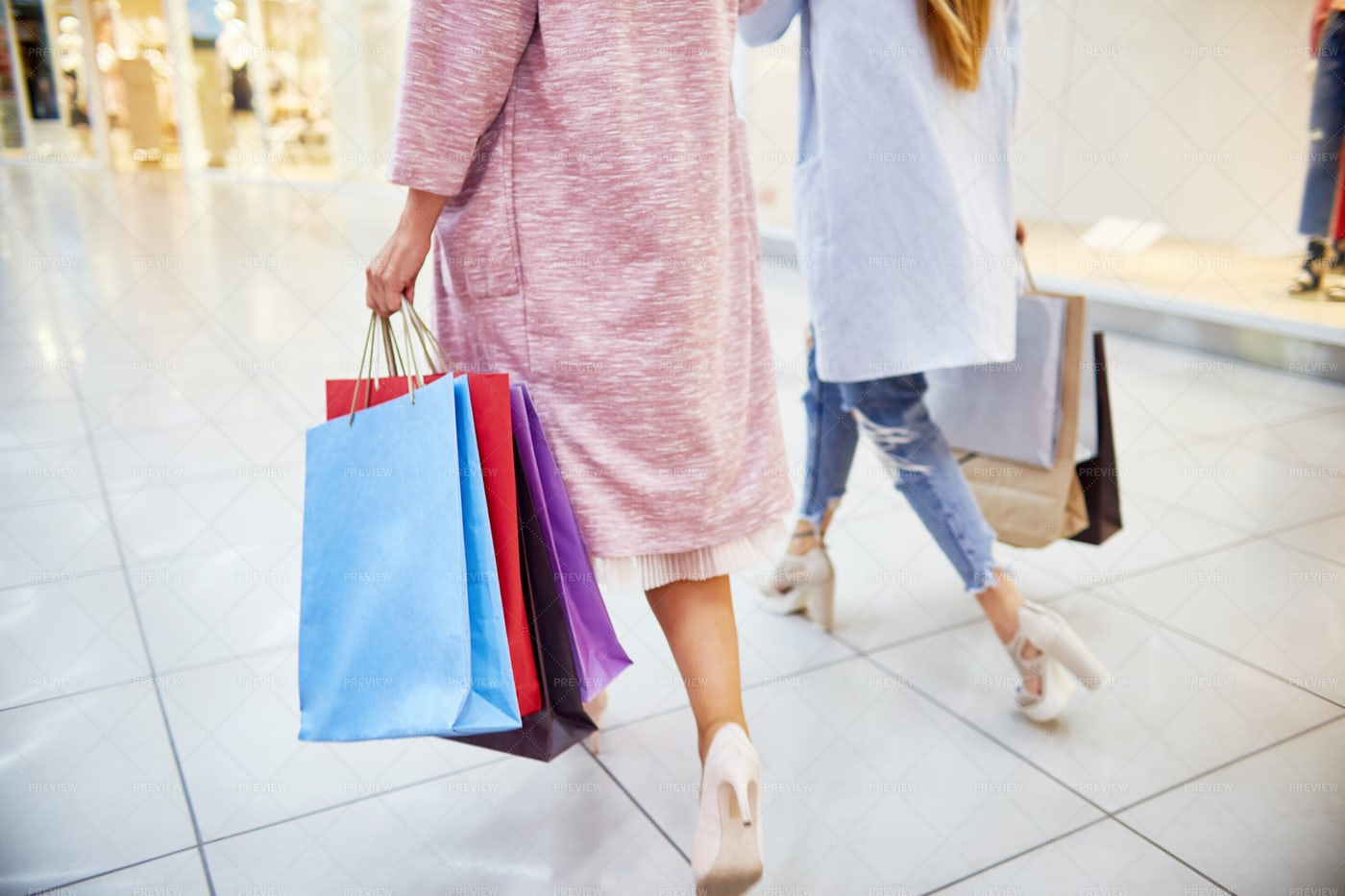 Young Women Going Shopping On Black...: Stock Photos