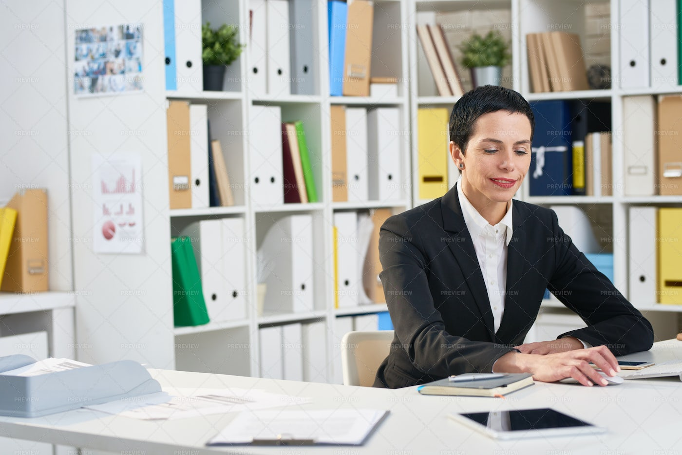Attractive Manager Wrapped Up In...: Stock Photos