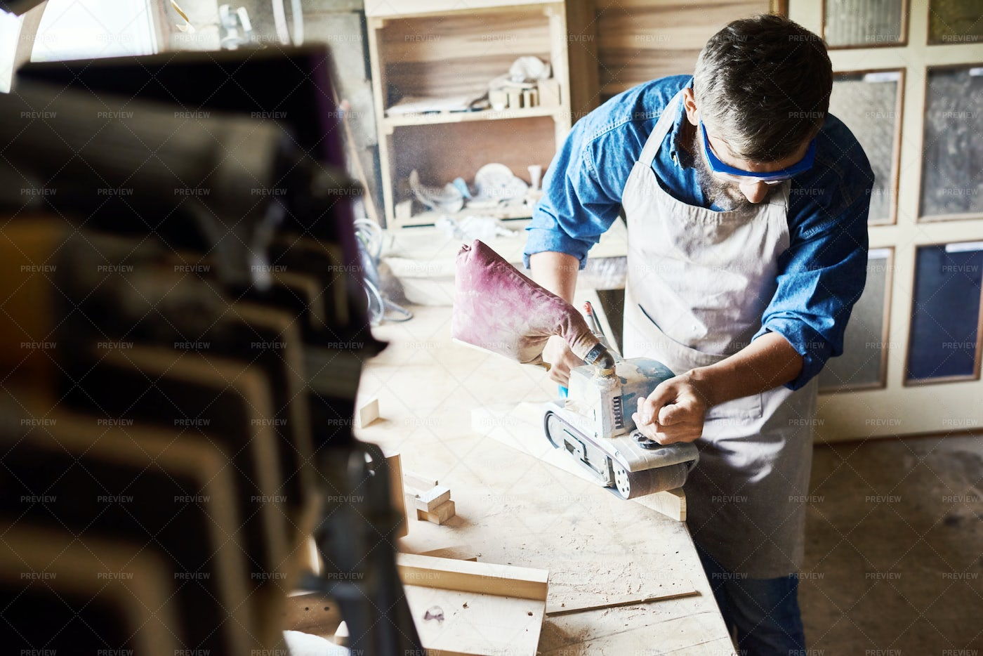 Modern Carpenter Working In Wood...: Stock Photos