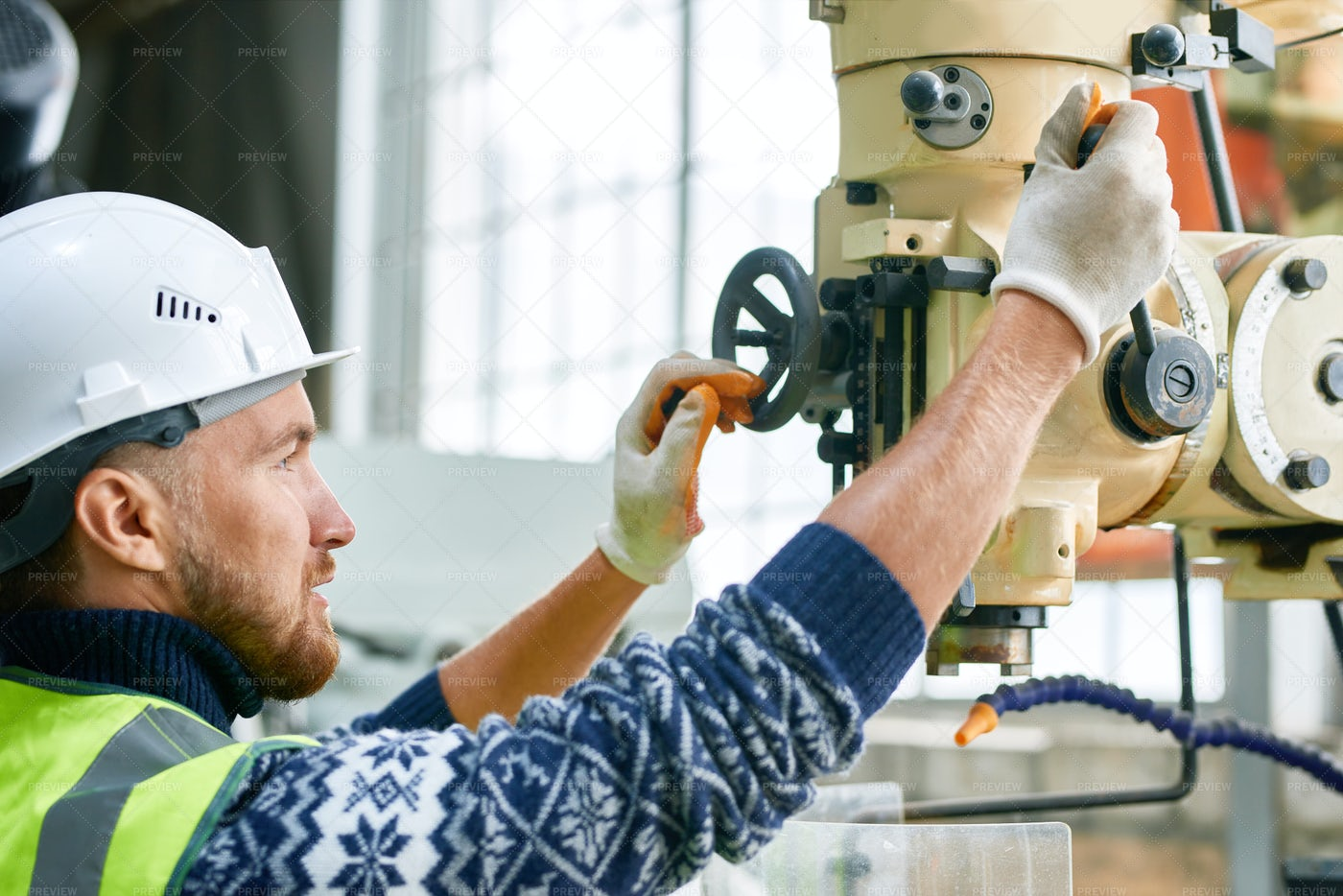 Factory Worker Using Machine Units: Stock Photos