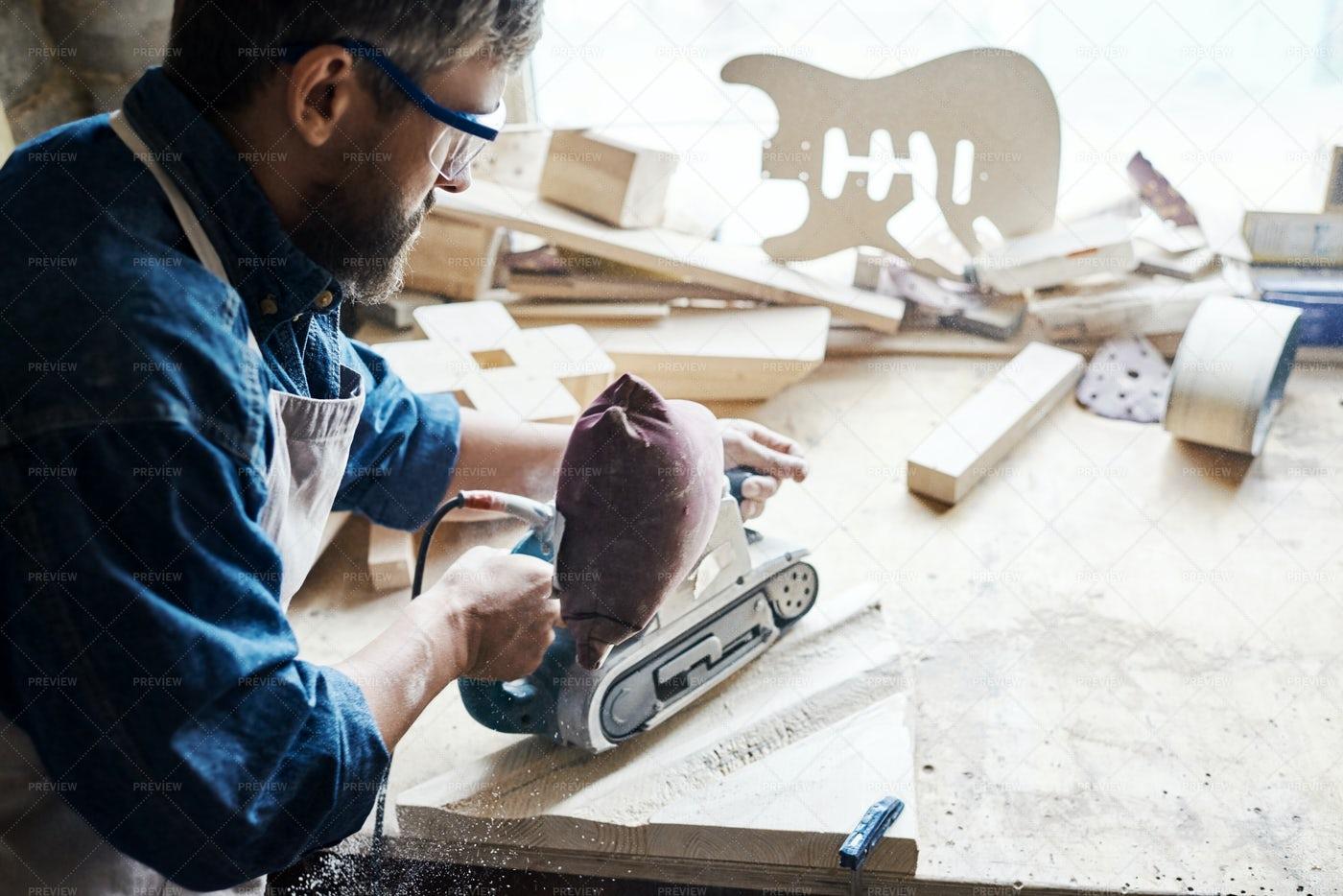 Mature Craftsman Making Wooden...: Stock Photos