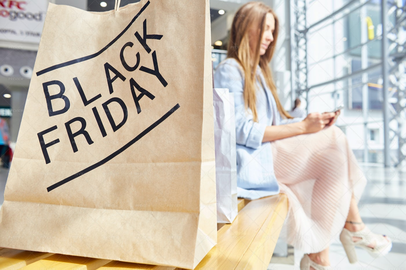 Young Woman Shopping On Black...: Stock Photos