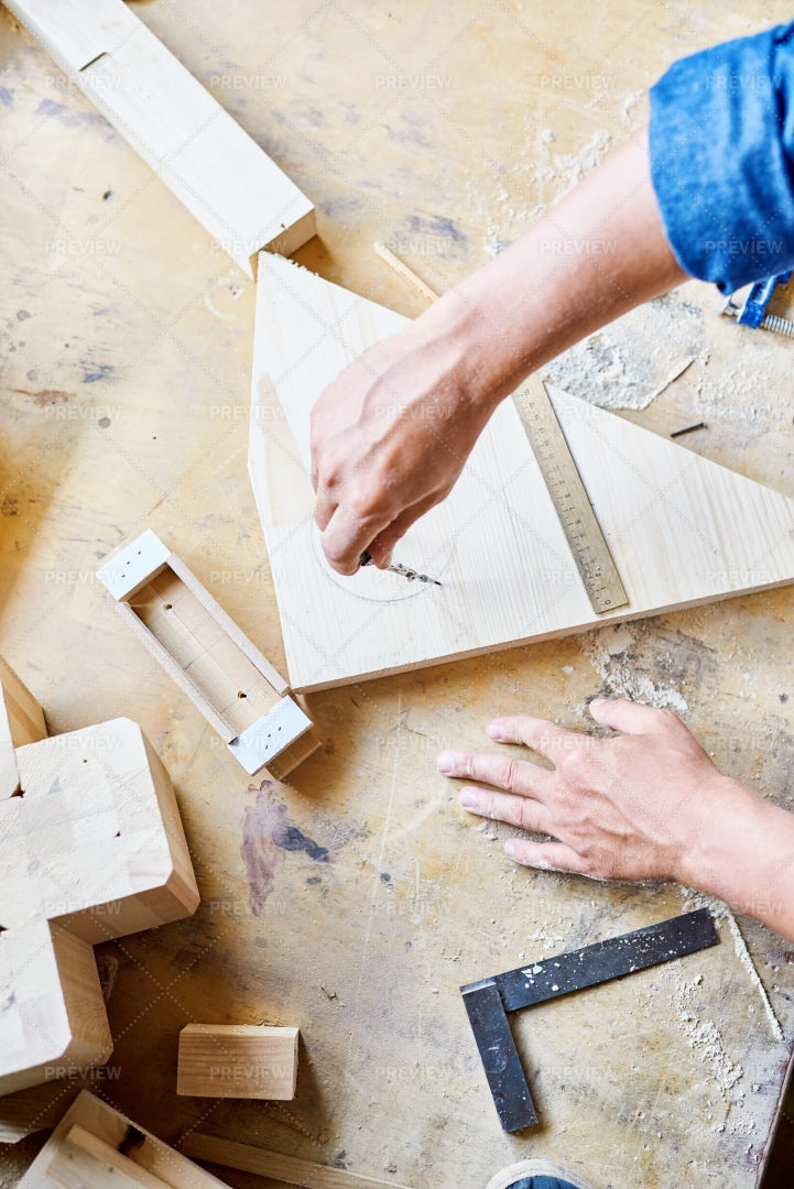 Carpenter Focused On Work: Stock Photos