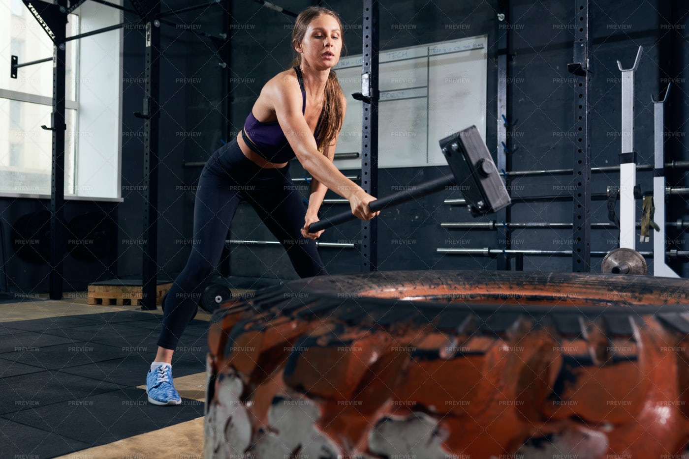 Woman In CrossFit Workout With...: Stock Photos