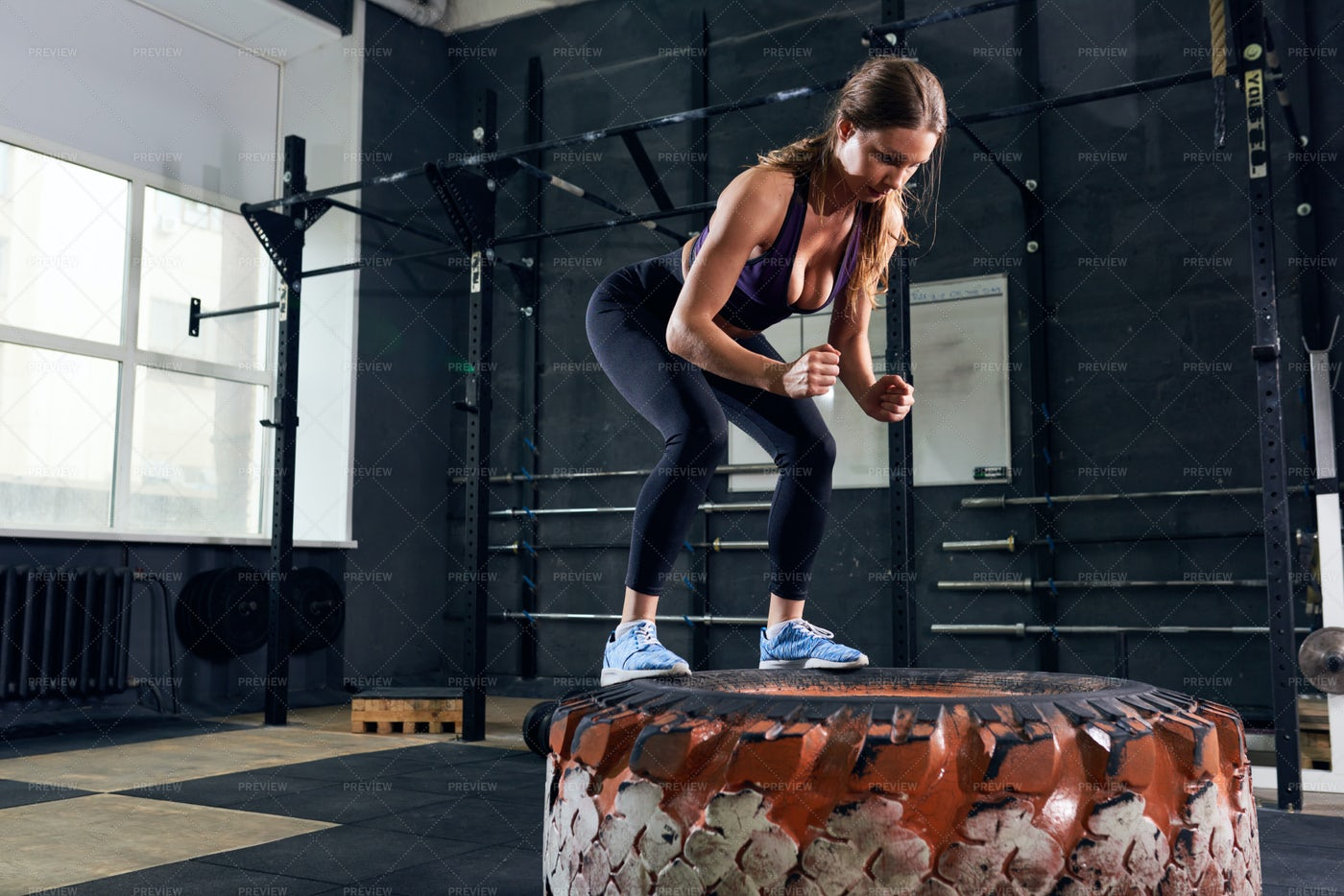Beautiful Woman Jumping On Huge...: Stock Photos