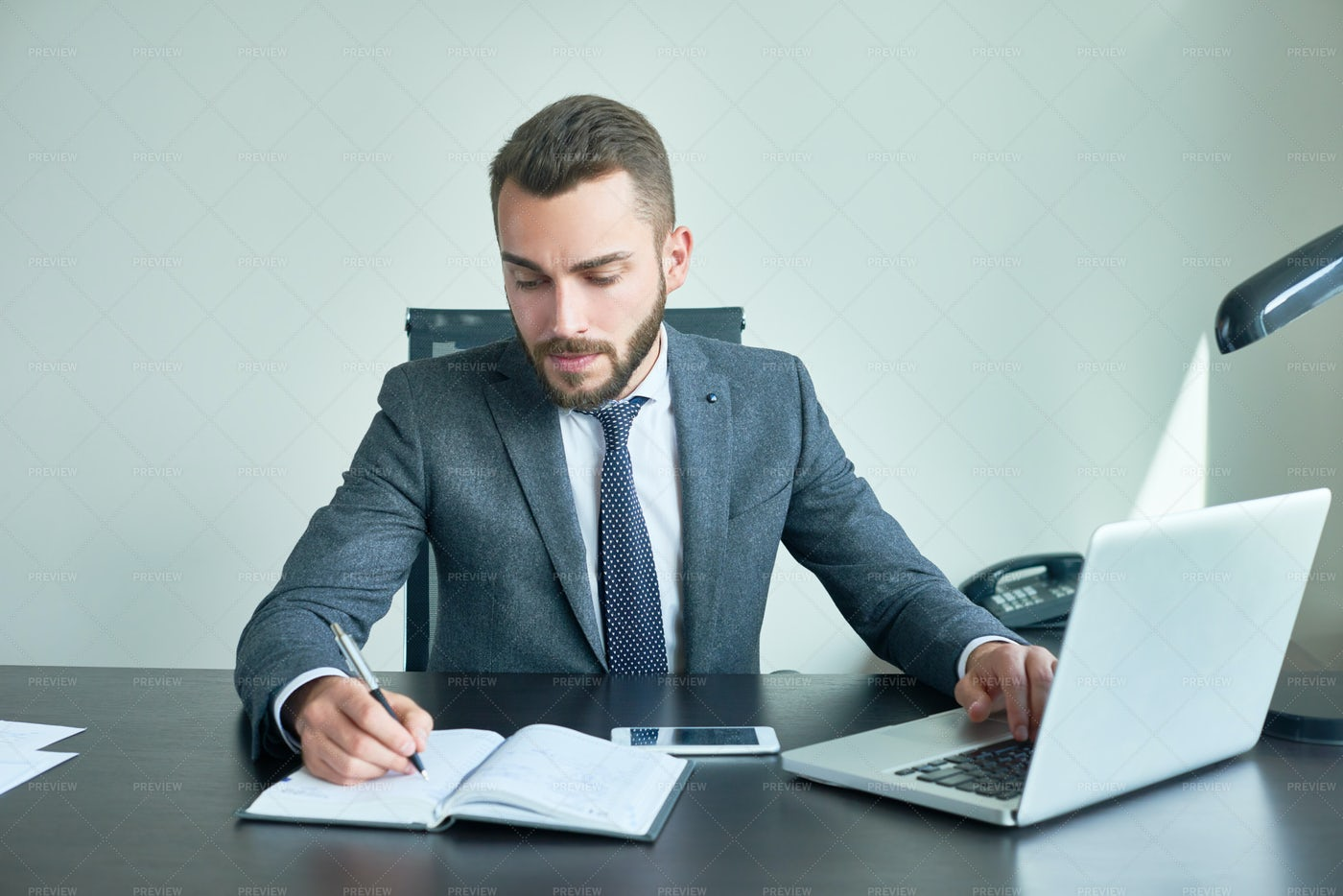 Handsome Boss In Office: Stock Photos
