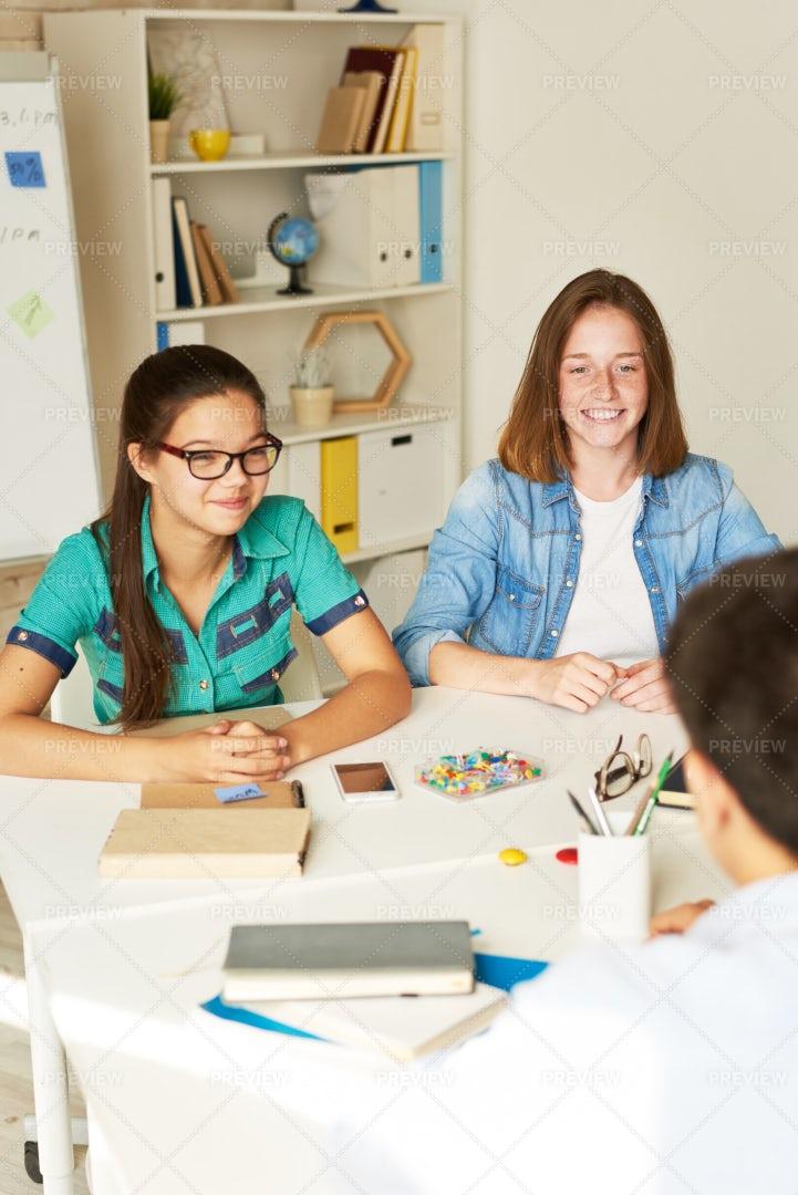 Teenage Students Having Small Talk: Stock Photos