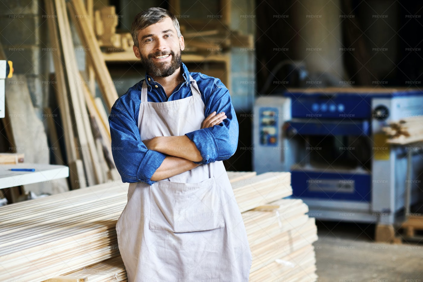 Carpentry Owner In Workshop: Stock Photos