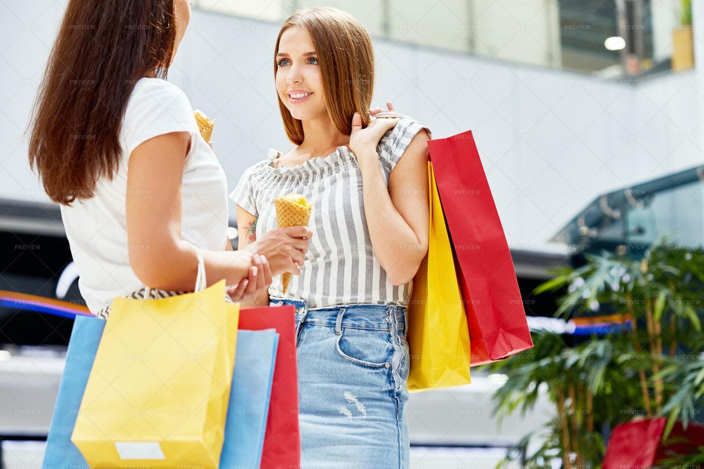 Beautiful Women Shopping In Mall: Stock Photos