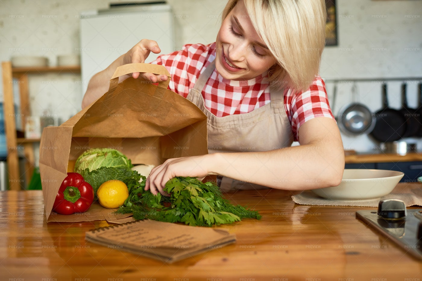 Pretty Housewife In Cozy Kitchen: Stock Photos
