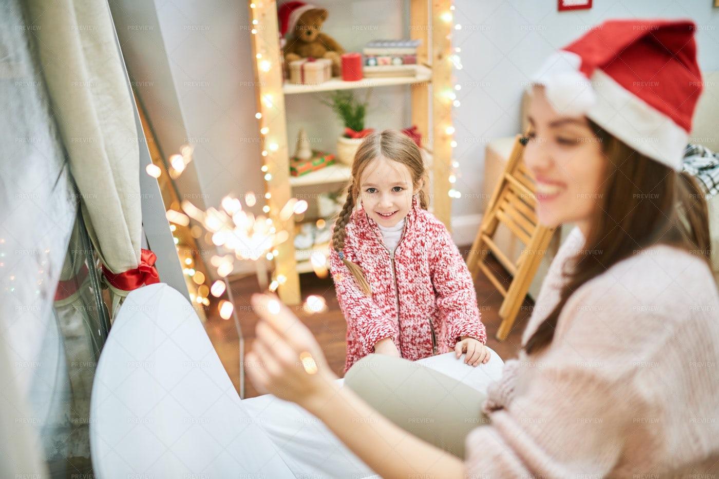 Celebrating Christmas At Home: Stock Photos