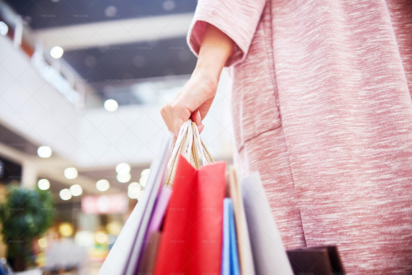 Woman Holding Shopping Bags: Stock Photos