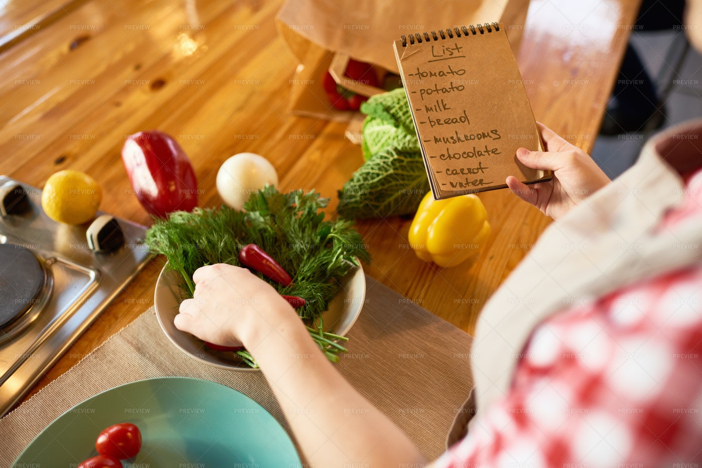 Studying List Of Ingredients: Stock Photos