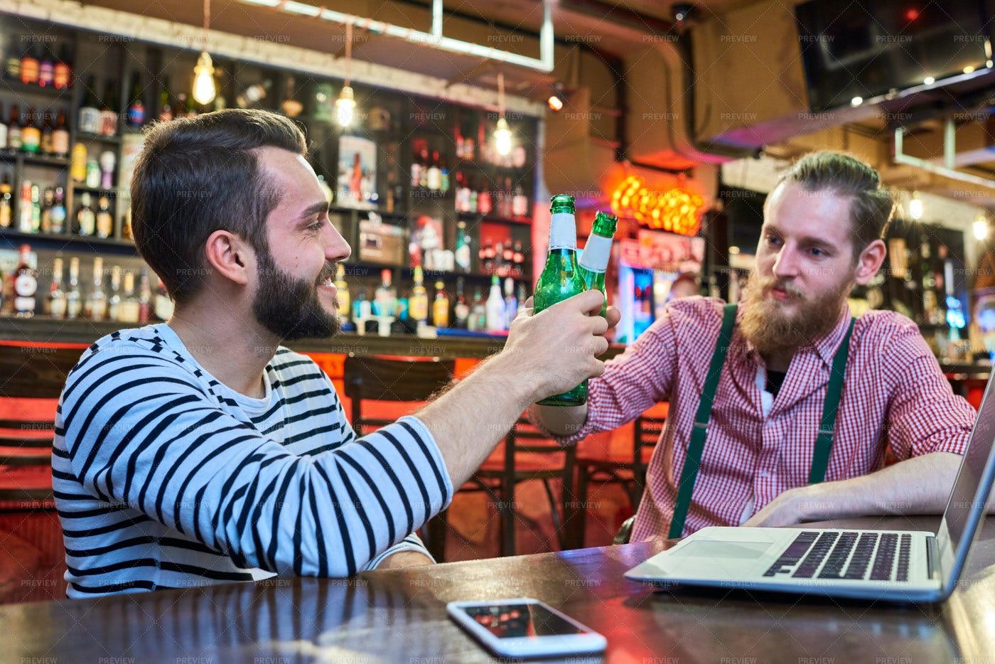 Buddies Chilling In Bar: Stock Photos
