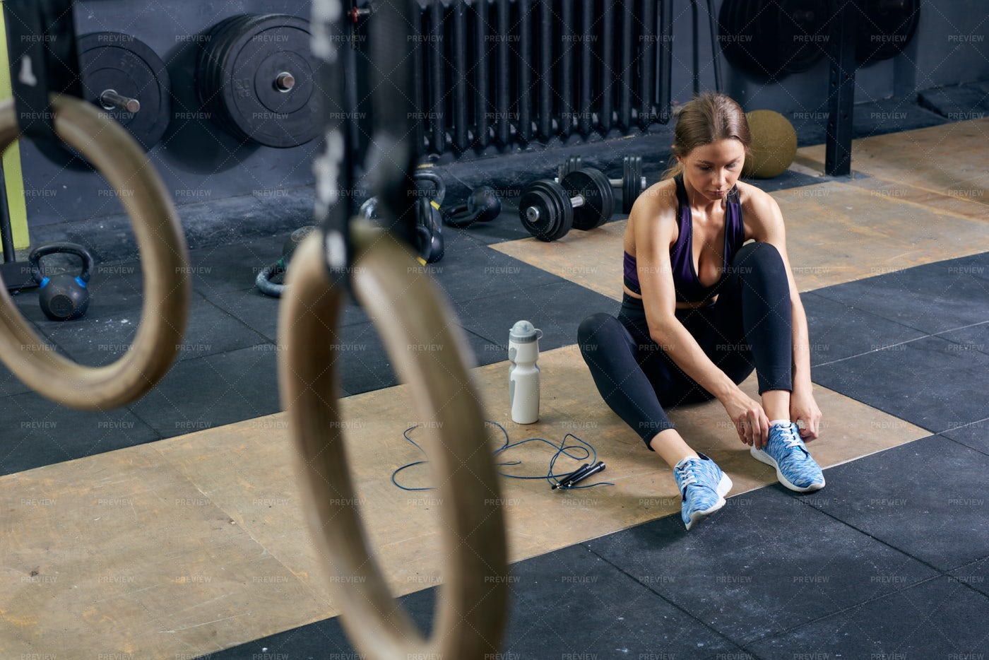 Female Athlete In CrossFit Gym: Stock Photos